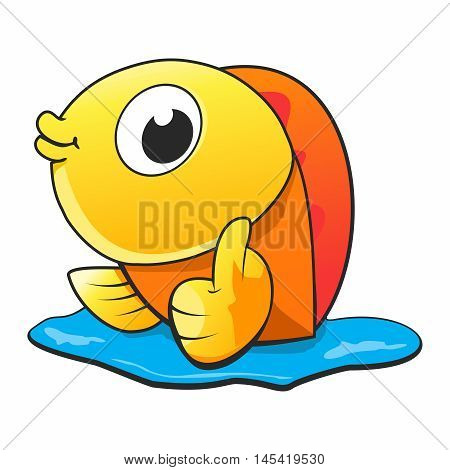 Vector Cartoon Cheerful Goldfish Thumb up Character isolated on white background