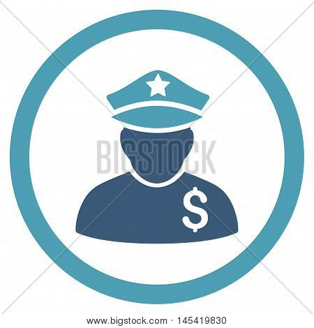 Financial Policeman rounded icon. Vector illustration style is flat iconic bicolor symbol, cyan and blue colors, white background.