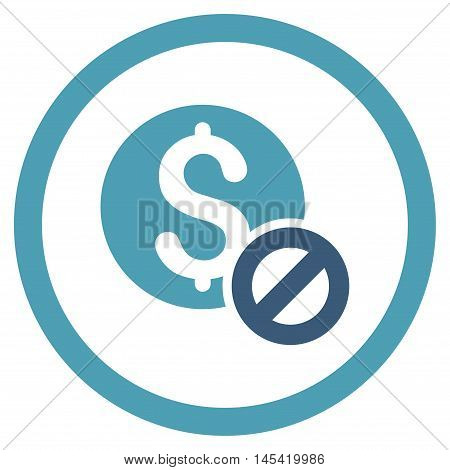 Free of Charge rounded icon. Vector illustration style is flat iconic bicolor symbol, cyan and blue colors, white background.