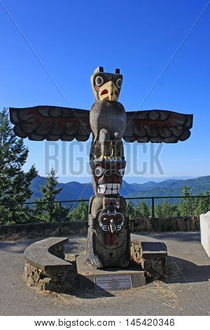 Totem Pole on Vancouver Island in Canada