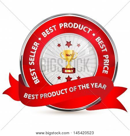 Best product of the year - award red ribbon with champions cup for business purposes / retail industry