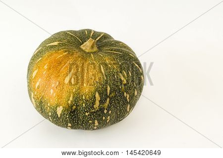 Whole green Pumpkin on a white background