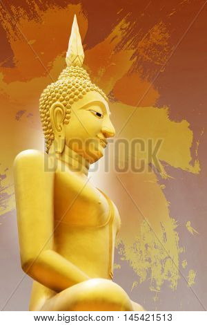 Gold image of Buddha statue on orange and yellow Abstract watercolor paint in background. with white radius in the back of buddha filtered image