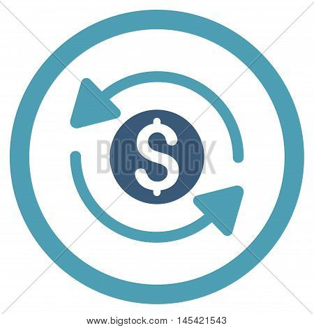 Money Turnover rounded icon. Vector illustration style is flat iconic bicolor symbol, cyan and blue colors, white background.