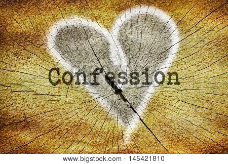 Word Confession written over drawn broken heart