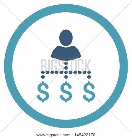 Person Payments rounded icon. Vector illustration style is flat iconic bicolor symbol, cyan and blue colors, white background.