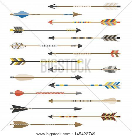 Set of arrow types for archer, include various type of feather such as indian style,old style, aragon, old english, flat design vector