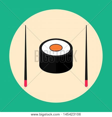 Sushi with chopsticks flat design vector EPS 10. Japanese food. Icon