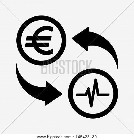 Money Convert Icon. Euro. Flat Design Style