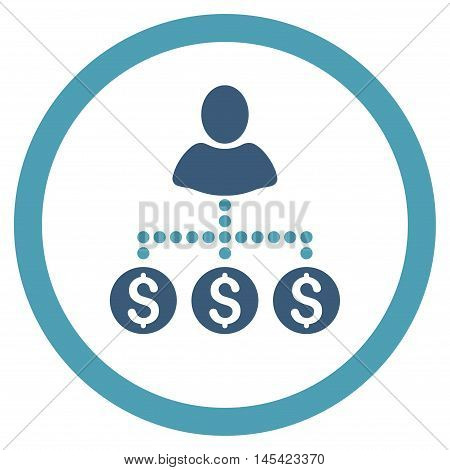 User Payments rounded icon. Vector illustration style is flat iconic bicolor symbol, cyan and blue colors, white background.