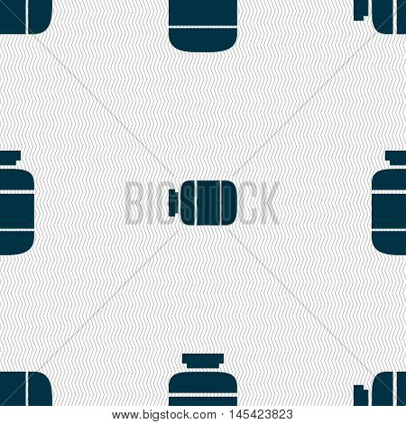 Medication Icon Sign. Seamless Pattern With Geometric Texture. Vector