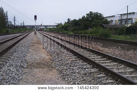 View Of Railway With Green Tree At The Lright Side Of Railway, Traffic Of Railway ,filtered Image, S