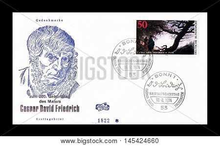 GERMANY - CIRCA 1975 : Cancelled First Day Cover letter printed by Germany, that shows Caspar Friedrich.
