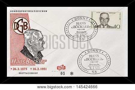 GERMANY - CIRCA 1975 : Cancelled First Day Cover letter printed by Germany, that shows Hans Bockler.