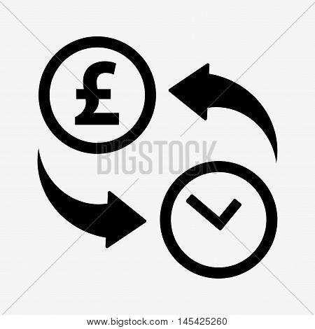 Money Convert Icon. Pound. Flat Design Style