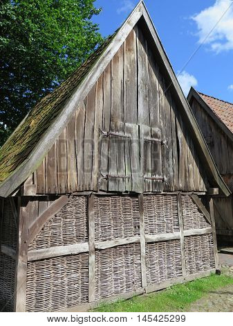 Wooden outhouse with lattice walls in Bad Zwischenahn Northwest Germany