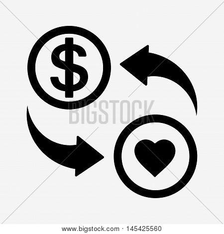 Money Convert Icon. Usd. Flat Design Style