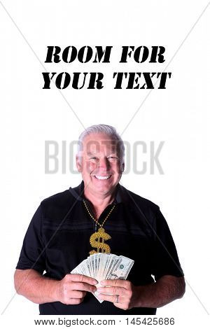 Man with money. Isolated on white. Room for text. Complete Model Release.