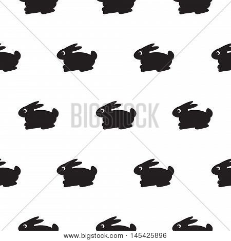 Rabbit black and white kid pattern. Baby bunny toy vector seamless pattern for fabric print and apparel.