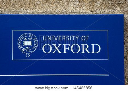 OXFORD UK - AUGUST 12TH 2016: The logo of the University of Oxford taken in Oxford on 12th August 2016.