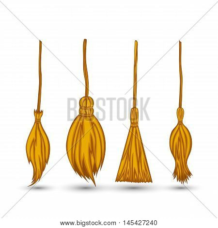 Set Witch's Broom On A White Background Isolated.
