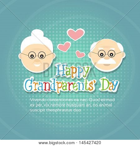 Grandfather With Grandmother Happy Grandparents Day Greeting Card Banner Flat Vector Illustration