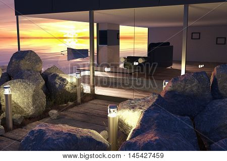 3d rendering of modern living room with glass wall and wooden buildingh entrance near the sea