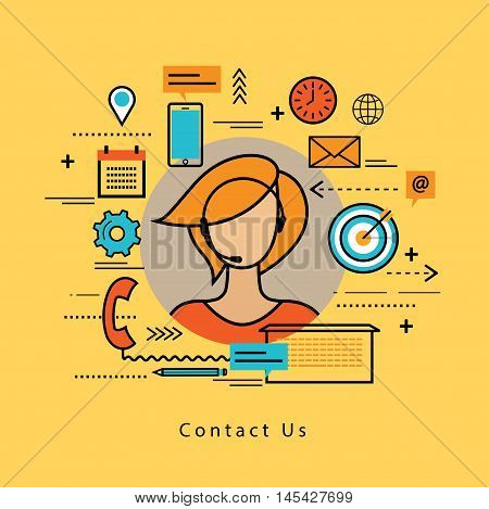 Line flat business design and infographic elements for online customer support, customer care service and assistance, call center concept, line help, consulting, client feedback, telephone marketing