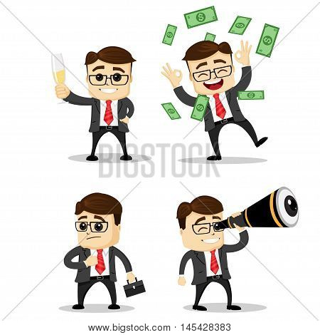 Set of cute characters businessman and office worker poses. Vector. Manager character. Money fly. Binoculars.
