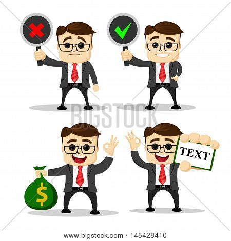 Set of cute characters businessman and office worker poses. Vector. Manager character.