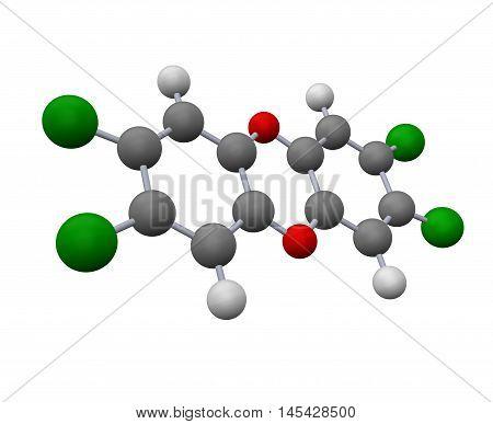 dioxin molecule model  o0n white background - 3d rendering