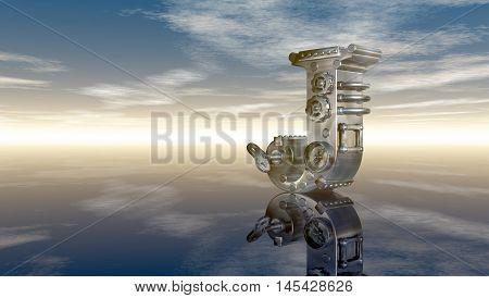 machine letter j under cloudy sky - 3d illustration