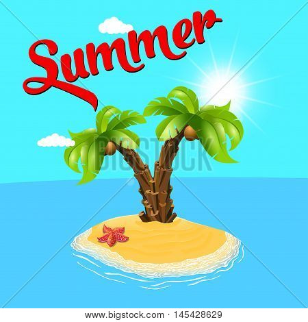 Summer holiday. Palm tree on the island. Vector, palm and the island. Relax on the beach. Palm trees. Vector illustration. Two palm-tree on the tropical island. Sunny palm beach. Isolated background.