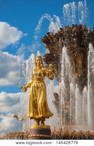 Fountain of Friendship of peoples - is one of main symbols of Exhibition of Economic Achievements in Moscow. It opened in 1954. Architect Topuridze, sculptors Bazhenova, Chaikoff, Ryleeva. Russia, Moscow. August 16, 2016