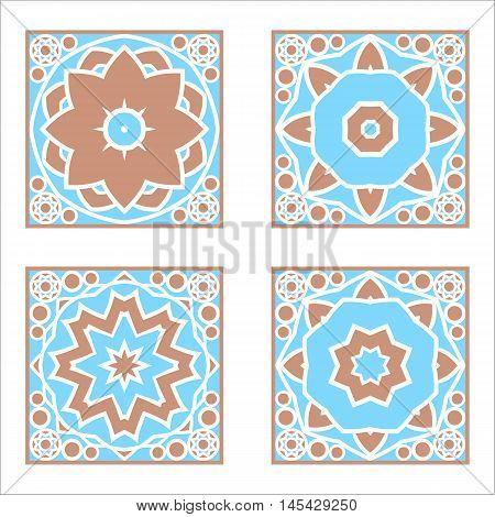 Decorative geometric elements in the oriental style. Majolica. Arabesque.