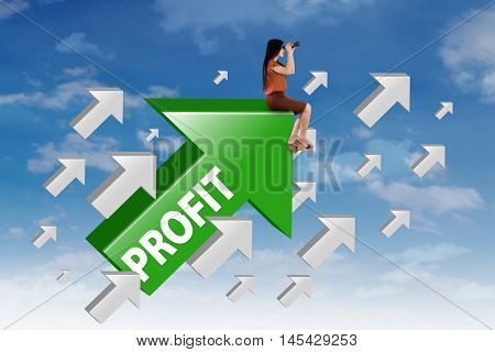 Female entrepreneur sitting on the upward arrow while looking at the sky through binocular with profit word on the arrow