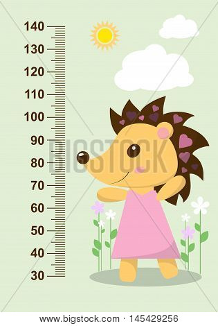 Cute Hedgehog On The Background Of Flowers Meter Wall From 30 To 140 Centimeter. Vector