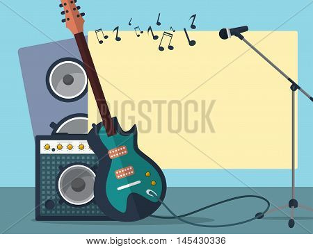 Frame With A Guitar, Combo Amp, Microphone, Speaker And Notes On A Blue Background. Vector