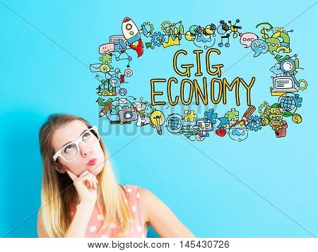 Gig Economy Concept With Young Woman