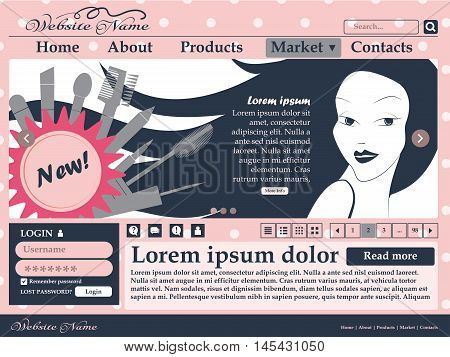 Web Design Elements In Pink And Black Colors For The Site Of Womens Cosmetics. Template. Vector