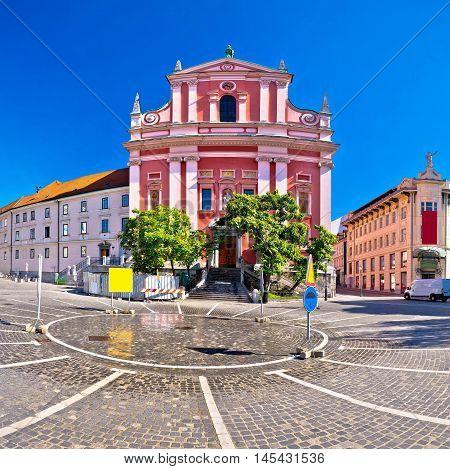 Main square of Ljubljana view capital of Slovenia