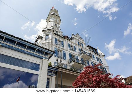 LUCERNE SWITZERLAND - MAY 04 2016: Gutsch castle with its hotel and restaurant is located on a hill over the city. Its unique architecture and its location makes it one of the tourist attractions