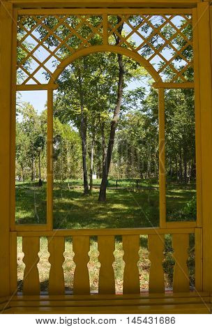 a view of the Park through the arch of the gazebo