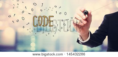 Businessman Drawing Code Concept