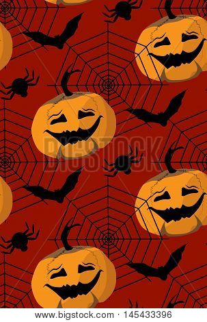 seamless pattern to the Halloween from pampkin bat spider web