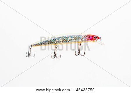 Fishing bait closeup isolated on white background