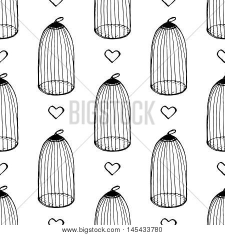 Heart and cage seamless pattern. Design element for wedding greeting card, valentines day invitation, honeymoon postcard. Vintage style, hand drawn pen and ink
