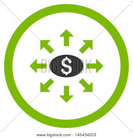 Mass Cashout rounded icon. Vector illustration style is flat iconic bicolor symbol, eco green and gray colors, white background.