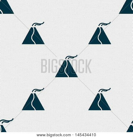 Active Erupting Volcano Icon Sign. Seamless Pattern With Geometric Texture. Vector
