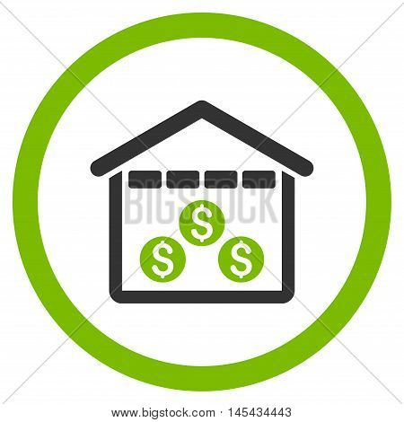 Money Depository rounded icon. Vector illustration style is flat iconic bicolor symbol, eco green and gray colors, white background.